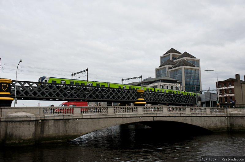 DART train on the Loopline Bridge across River Liffey in Central Dublin