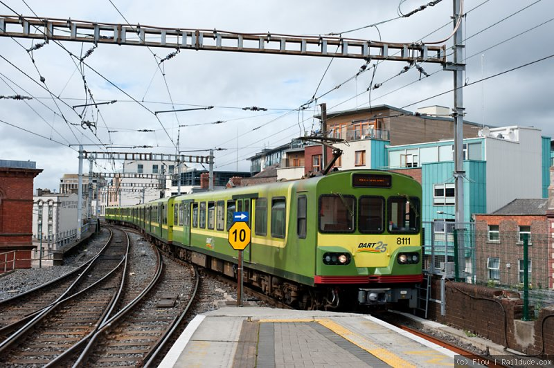 DART train approaches the through platforms of Connolly Station