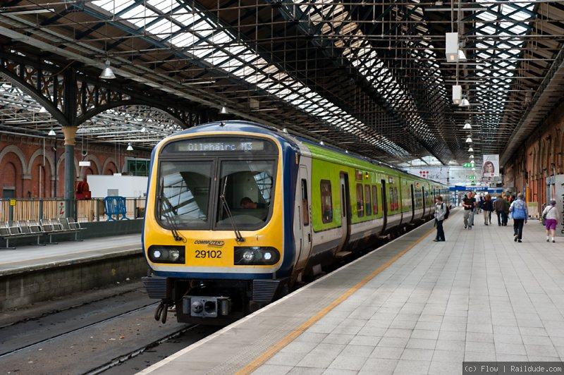 Commuter train at the terminal platforms in Connolly Station