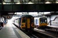Northern Rail (NOR) train - Class 158 suburban train and Class 142 commuter train