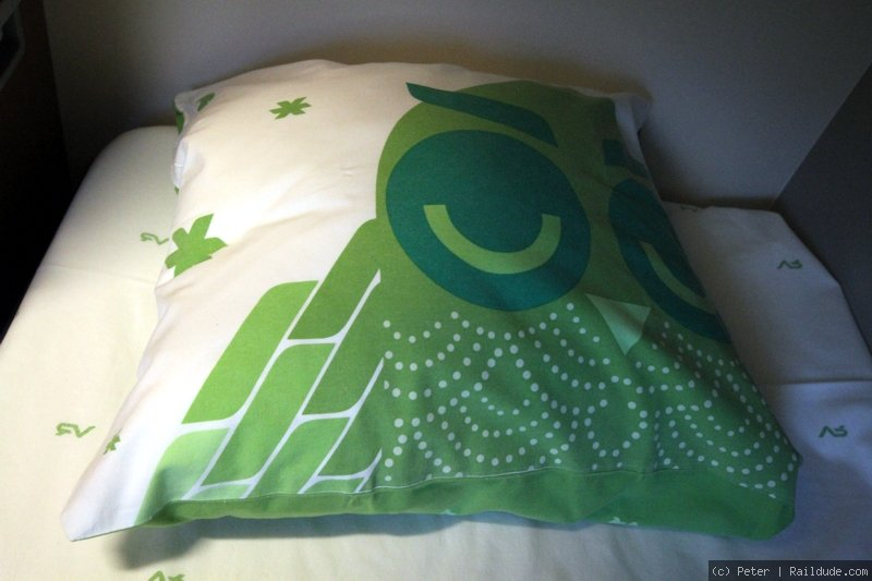 Nice bed sheets in the sleeper. :)