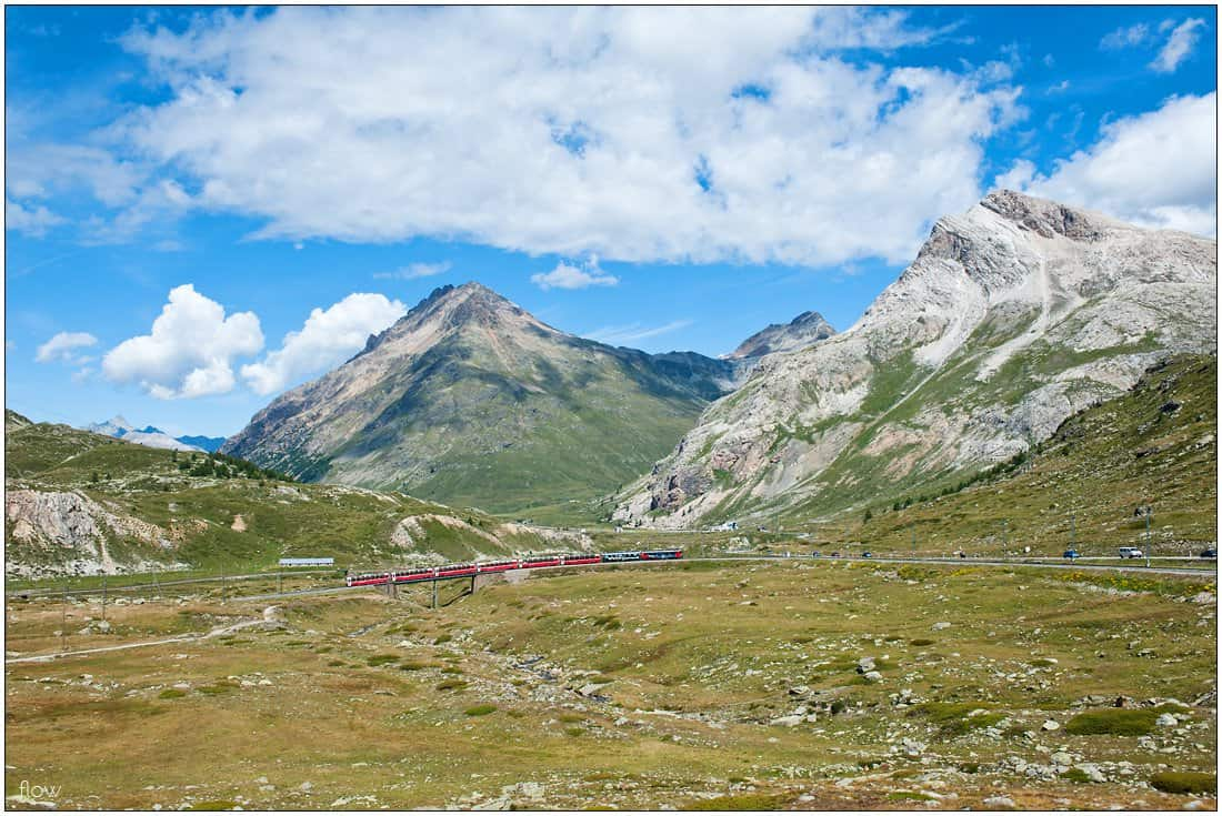 Bernina Express climbs towards Ospizio Bernina.