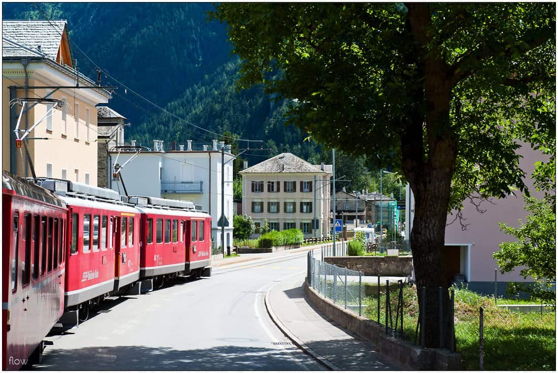 On some parts, Bernina railway runs along the streets of the villages of Valposchiavo as can be seen here in Le Prese.