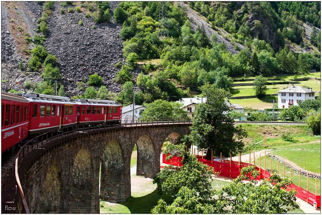 The circular viaduct of Brusio is the landmark of Bernina Railway.