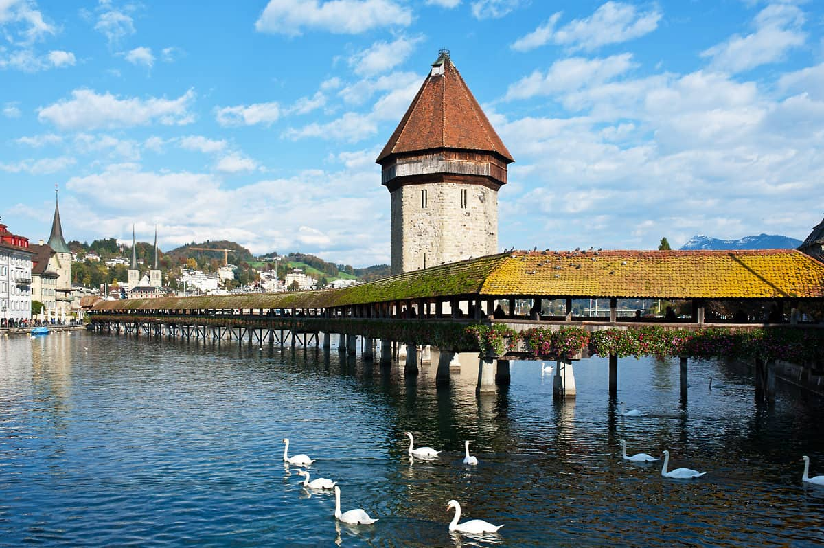 Lucerne's landmark: Kapellbrücke (Chapel Bridge) across the Reuss.