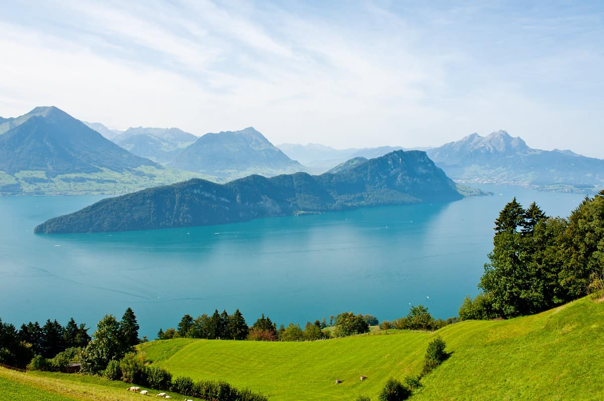 View over Lake Lucerne from a coach of Vitznau Rigi Railway.