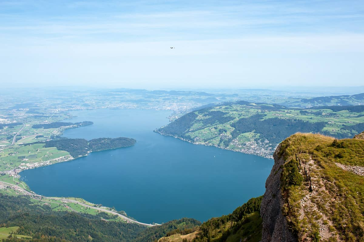 Lake Zug as seen from the top of Rigi Kulm.