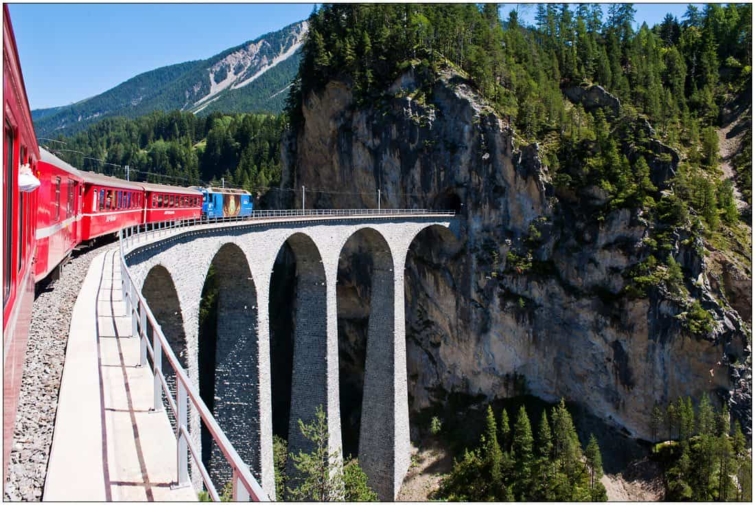 A few minutes before the train to St Moritz reaches Filisur it crosses the famous Landwasser Viaduct.