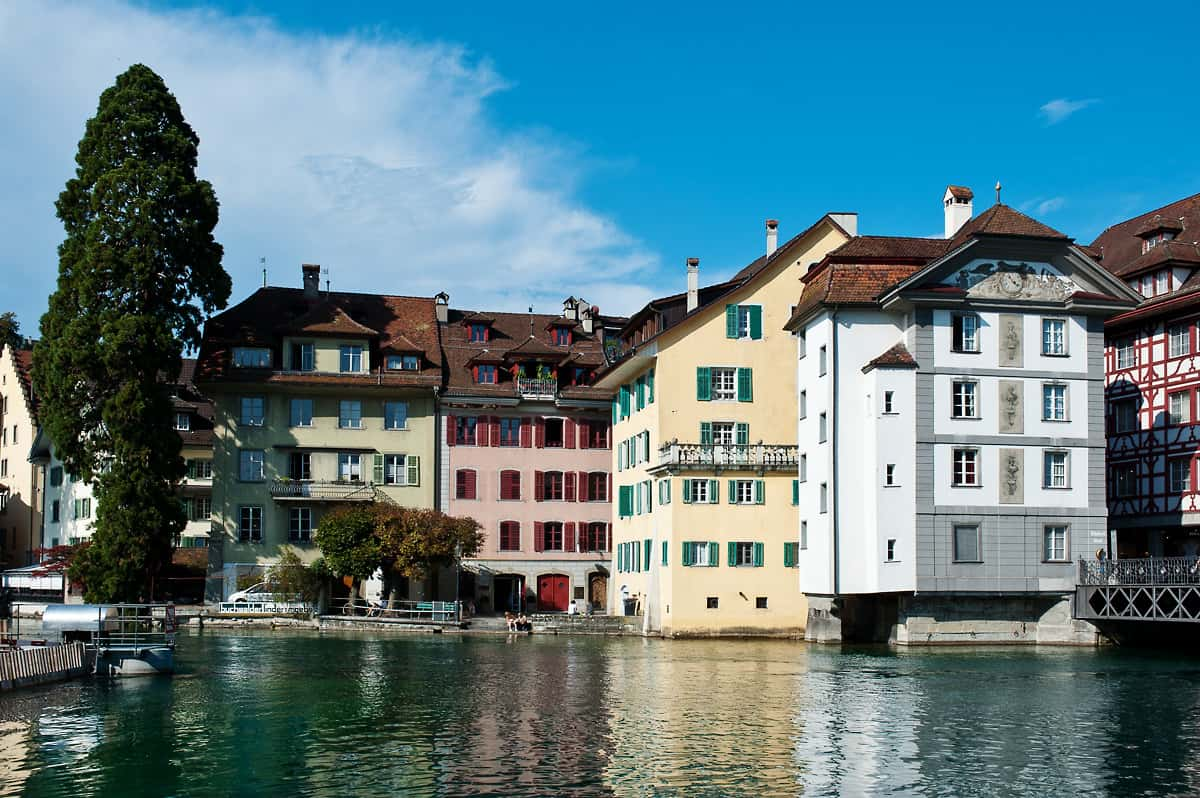 Houses in the old town of Lucerne along the Reuss river.