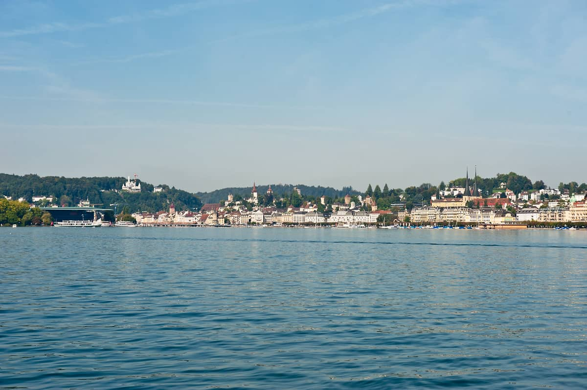 The boat has left Lucerne, heading for Weggis and Vitznau.