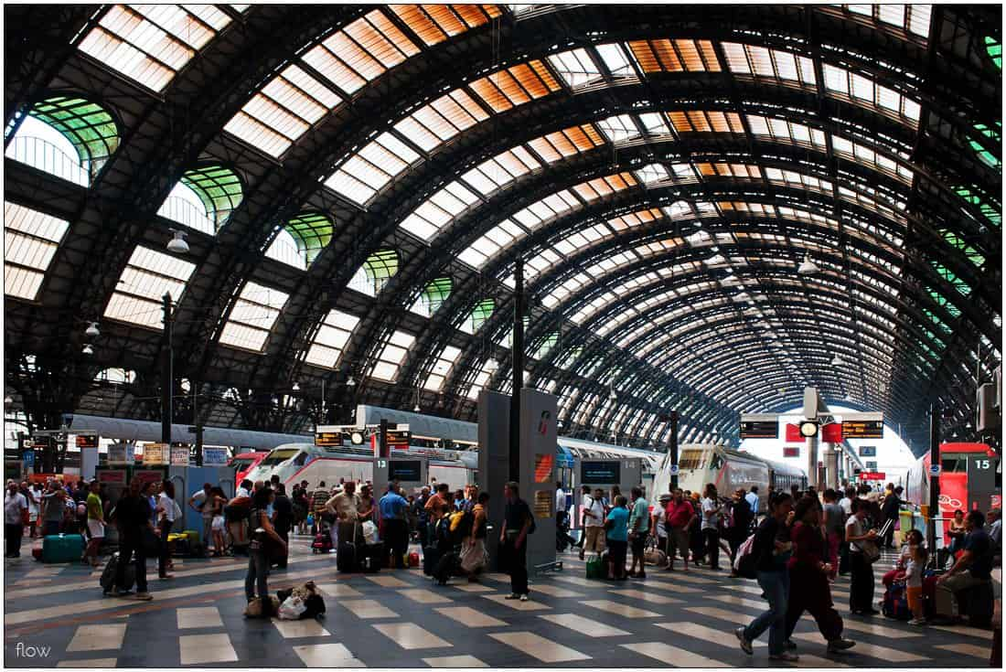 You have reached your destination: Milano Centrale, bustling as always.