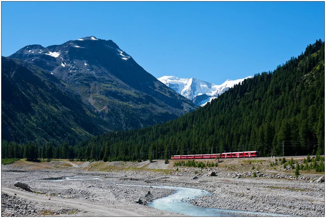 A Regio train bound for St Moritz has just left Morteratsch station. The picture was taken from our spot at Camping Morteratsch.