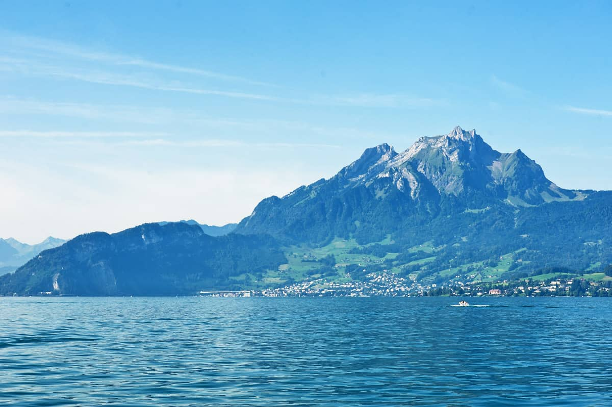 Mount Pilatus as seen onboard the Lucerne – Vitznau ship.