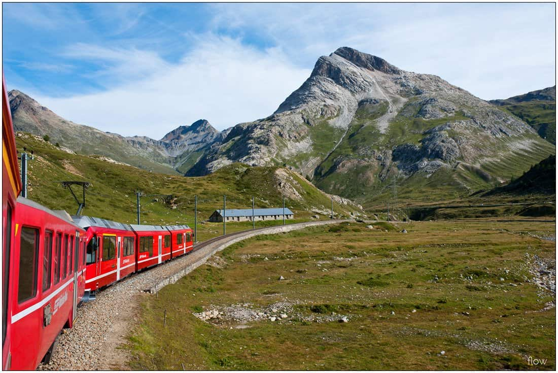 On board a train on the descent from Ospizio Bernina towards Morteratsch and St Moritz.