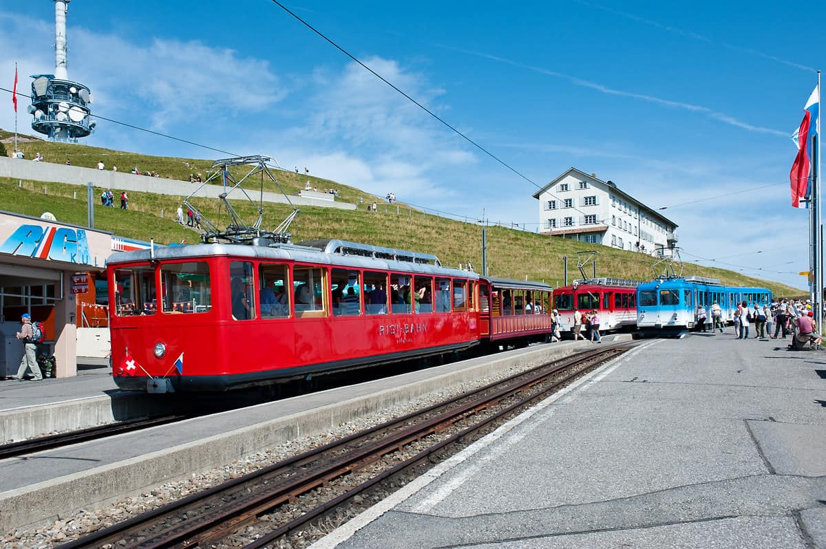 Trains at Rigi Kulm station waiting for the return to Vitznau and Arth-Goldau.