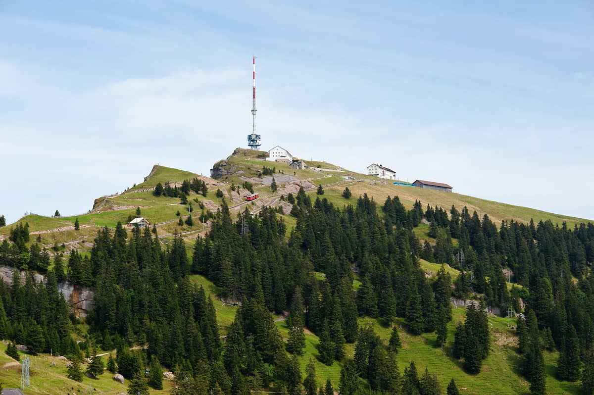 Rigi Kulm is the highest peak of the Rigi massif and terminal of both railway lines.