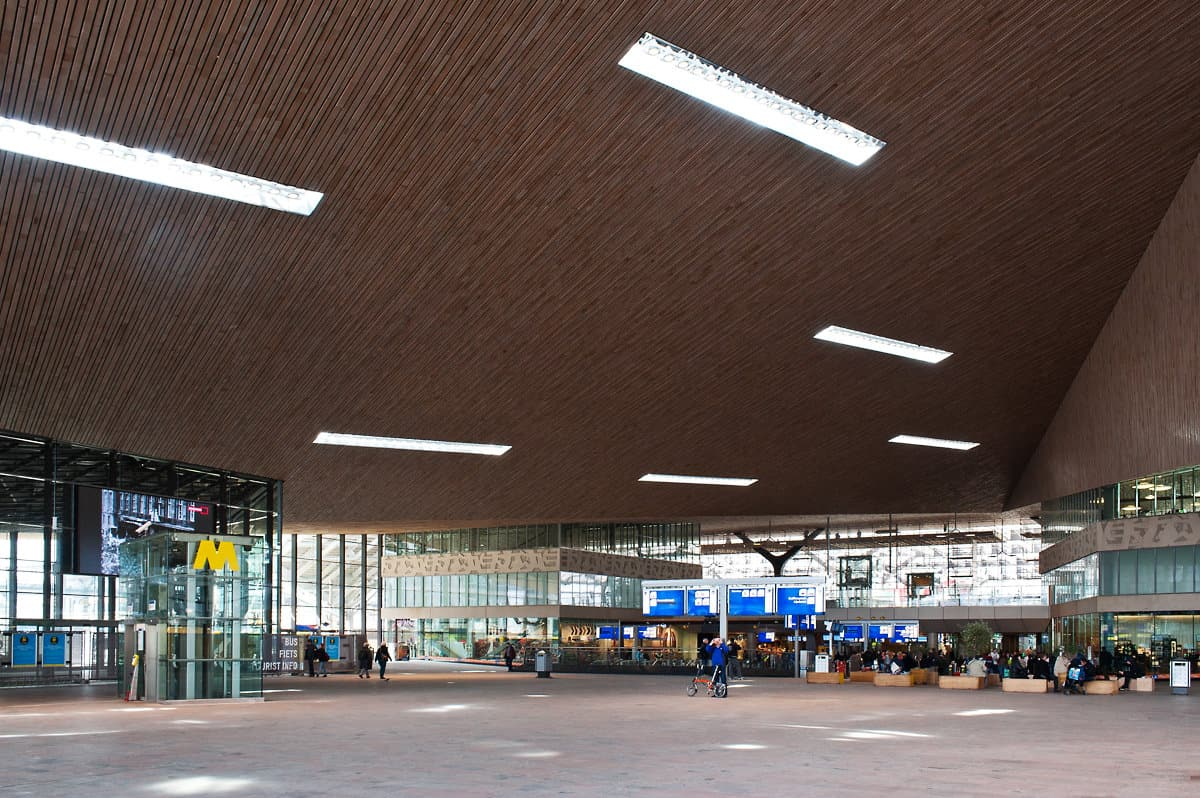 When changing trains at Rotterdam Centraal, also have a look at the impressive wooden roof.