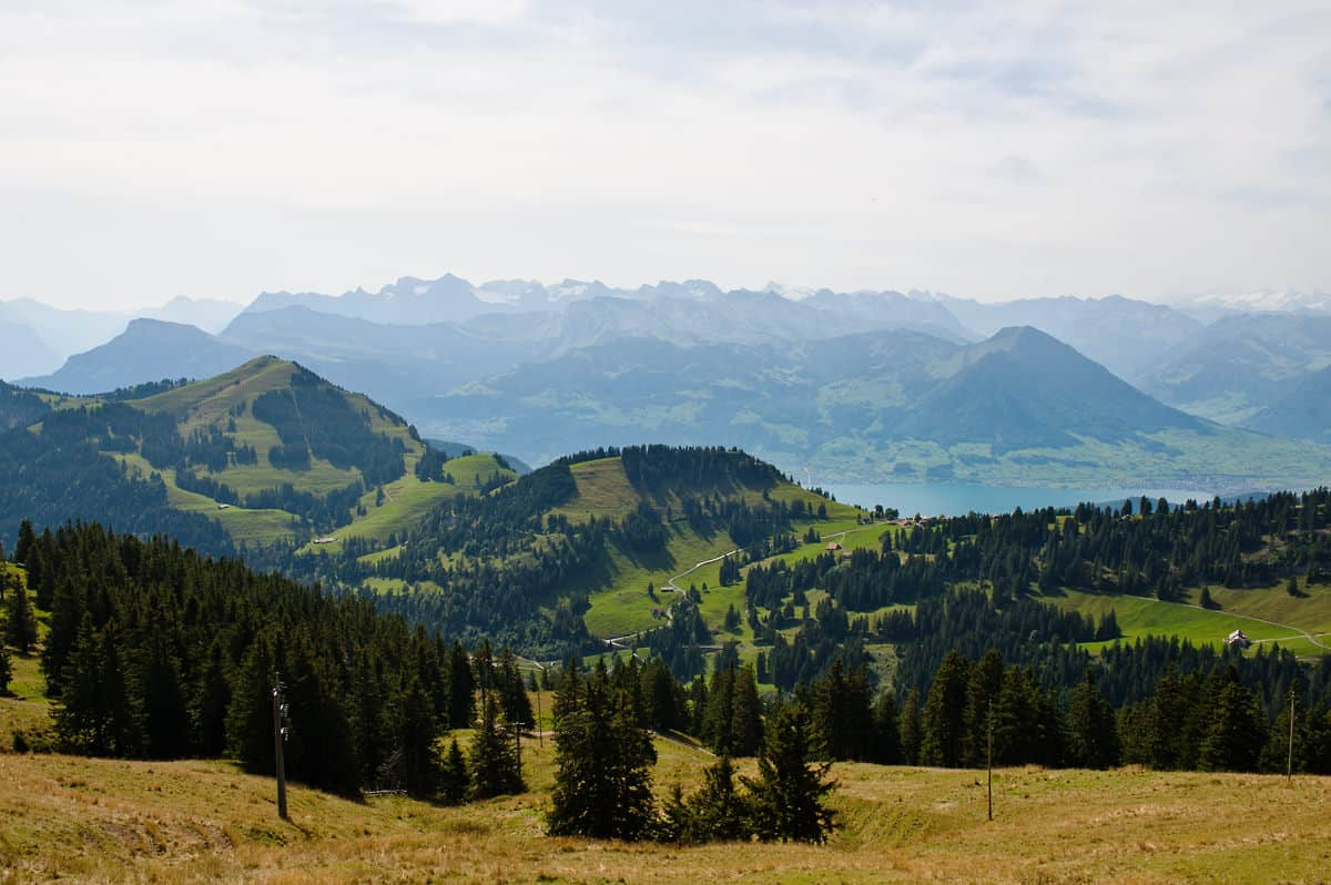 View over the Swiss Alps from Mount Rigi.