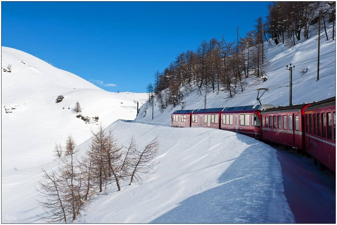 Almost on top: The train has just left Alp Grüm station and is now heading to the summit at Ospizio Bernina.