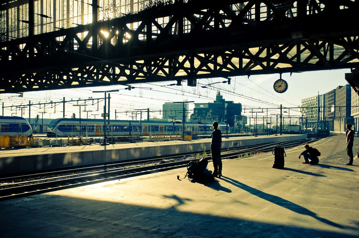 Waiting for the train at Amsterdam Centraal.