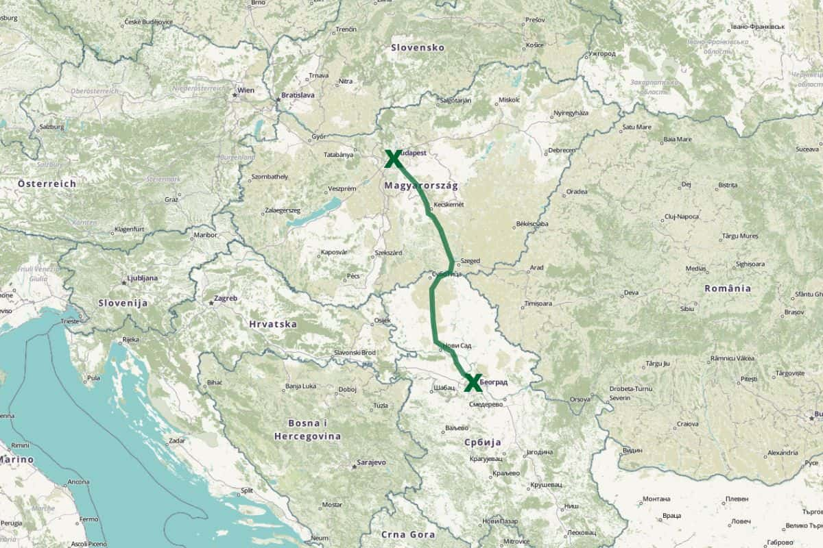 Budapest to Belgrade - train route map - Openstreetmap.org