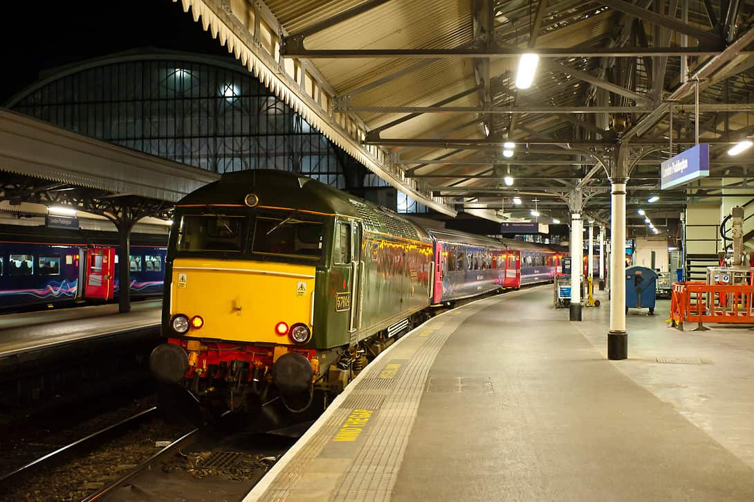 57604 in Great Western heritage livery with the Night Riviera on platform 1 at Paddington.