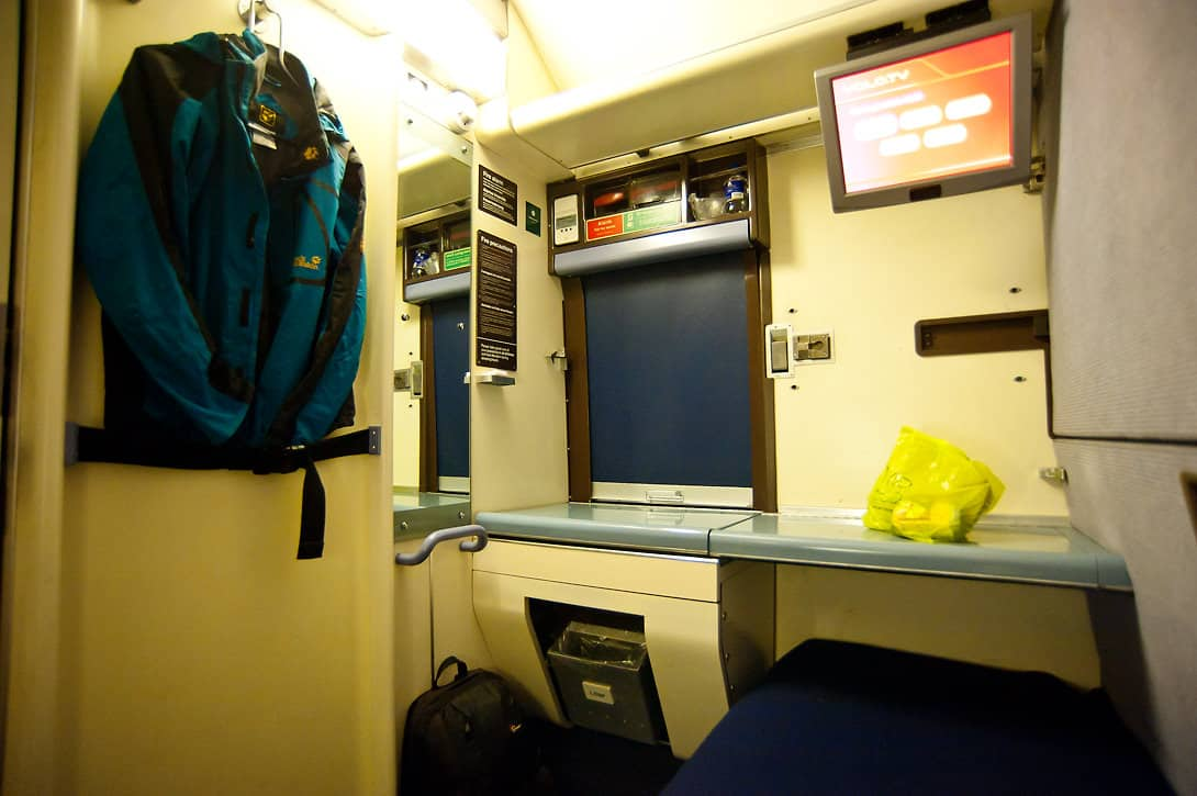 Inside a comfortable Solo cabin on the Night Riviera.