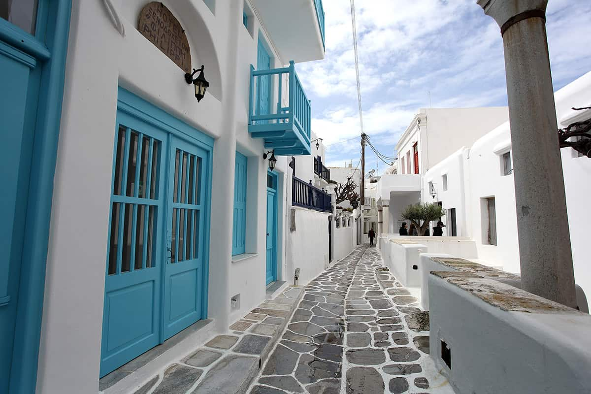 The downtown area is full of blue and white small streets