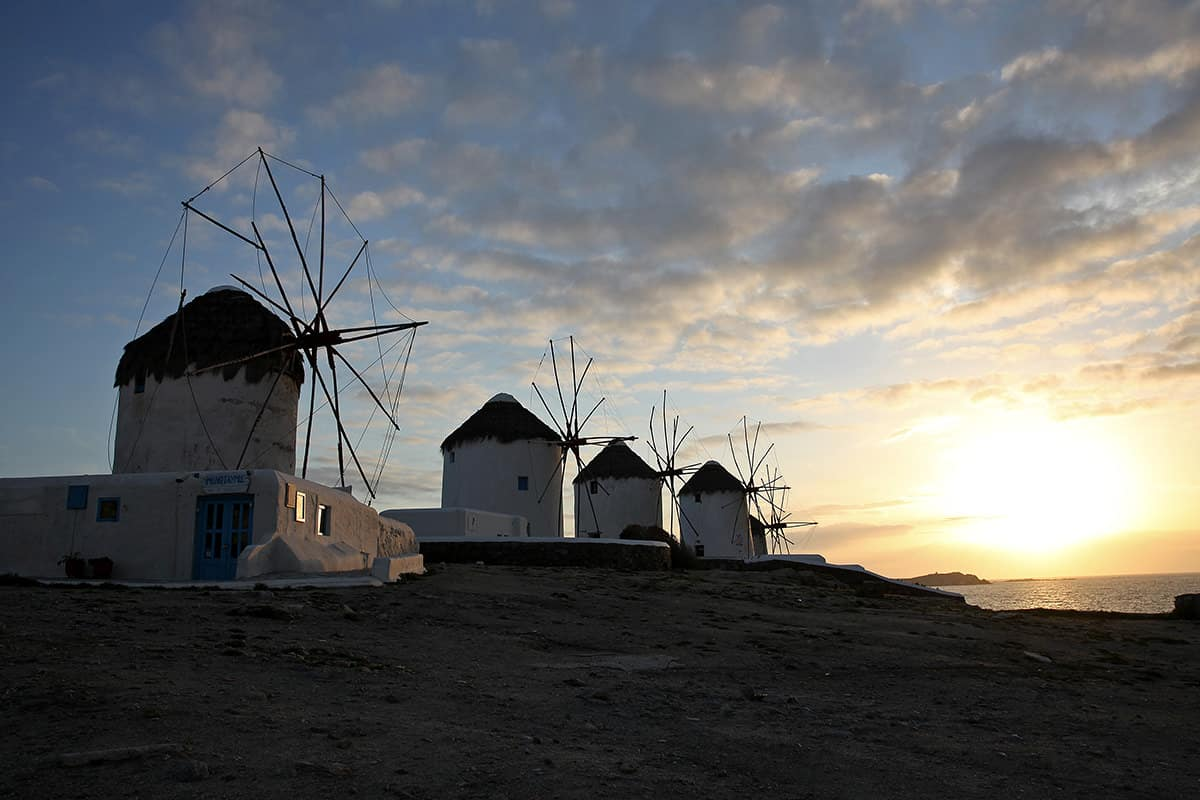 The four windmills are the landscape of Mykonos