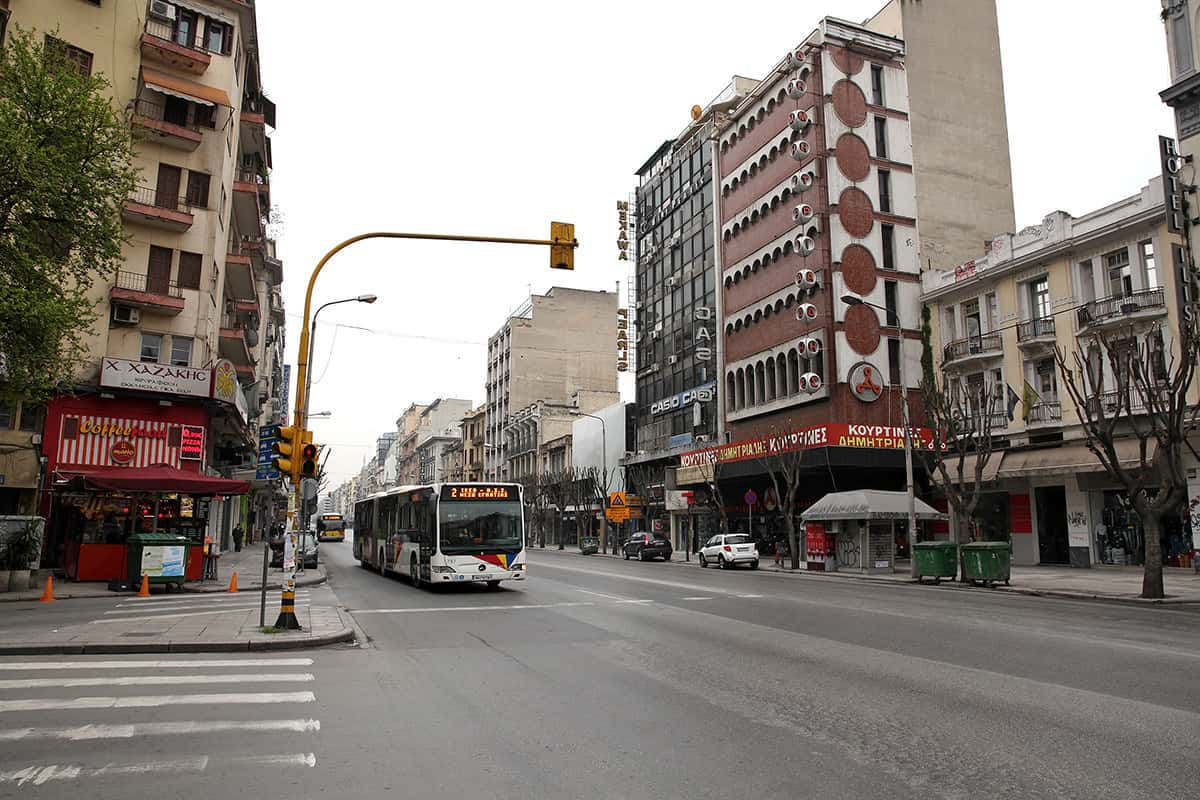 The downtown of Thessaloniki. Free streets at morning, full in the evening