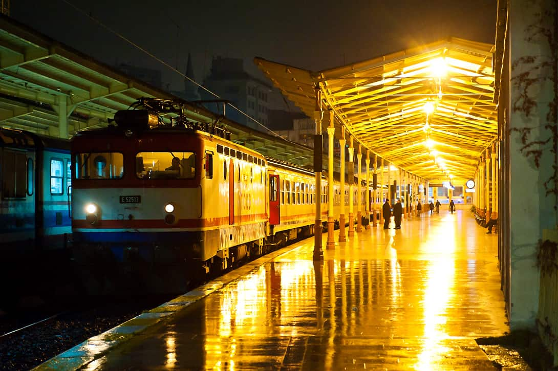 Night train in the now abandoned Istanbul Sirkeci station.