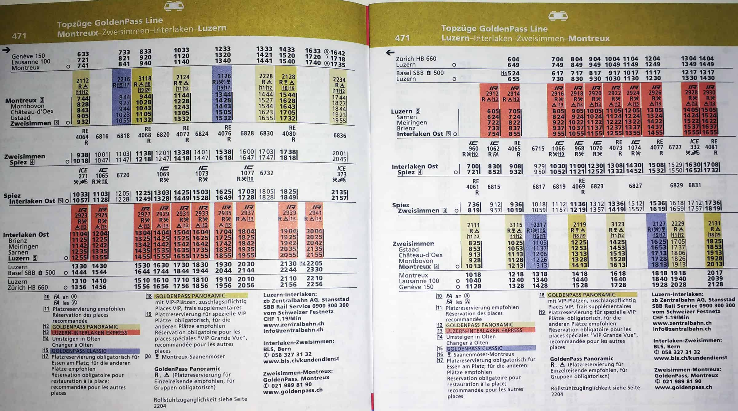 Timetable GoldenPass Line