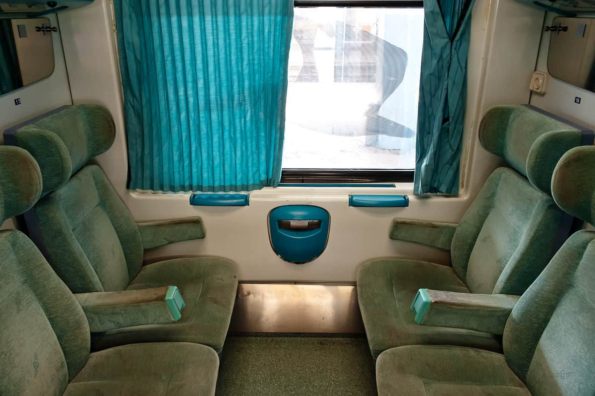 Compartment of a Greek 2nd class coach.