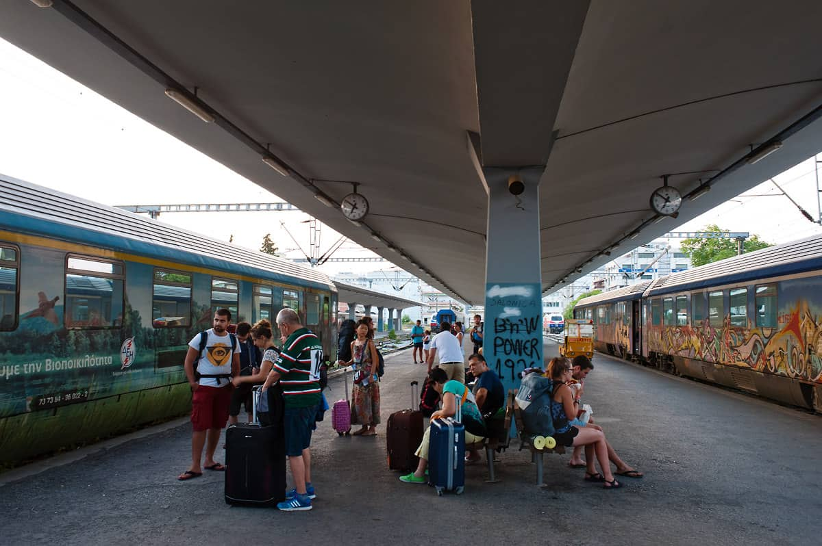 The two coaches at the far end of the platform are the coaches to Sofia and will be attached to the train on the left.