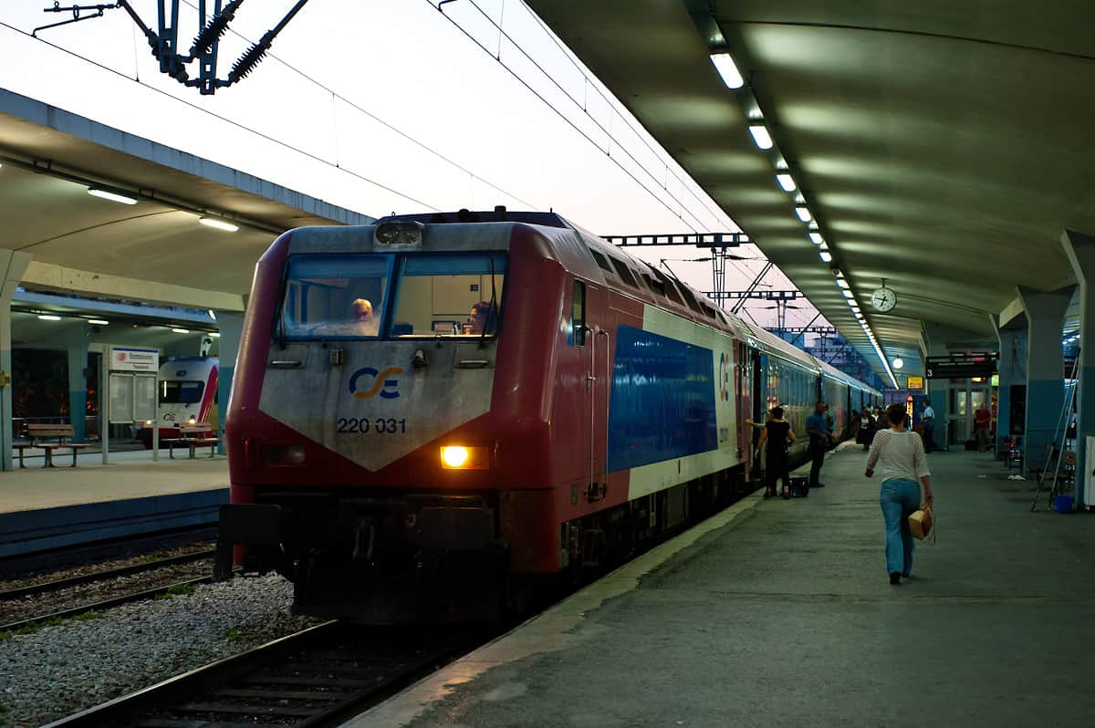 The night train from Athens to Alexandroupoli with two coaches to Sofia waits for departure at Thessaloniki station.