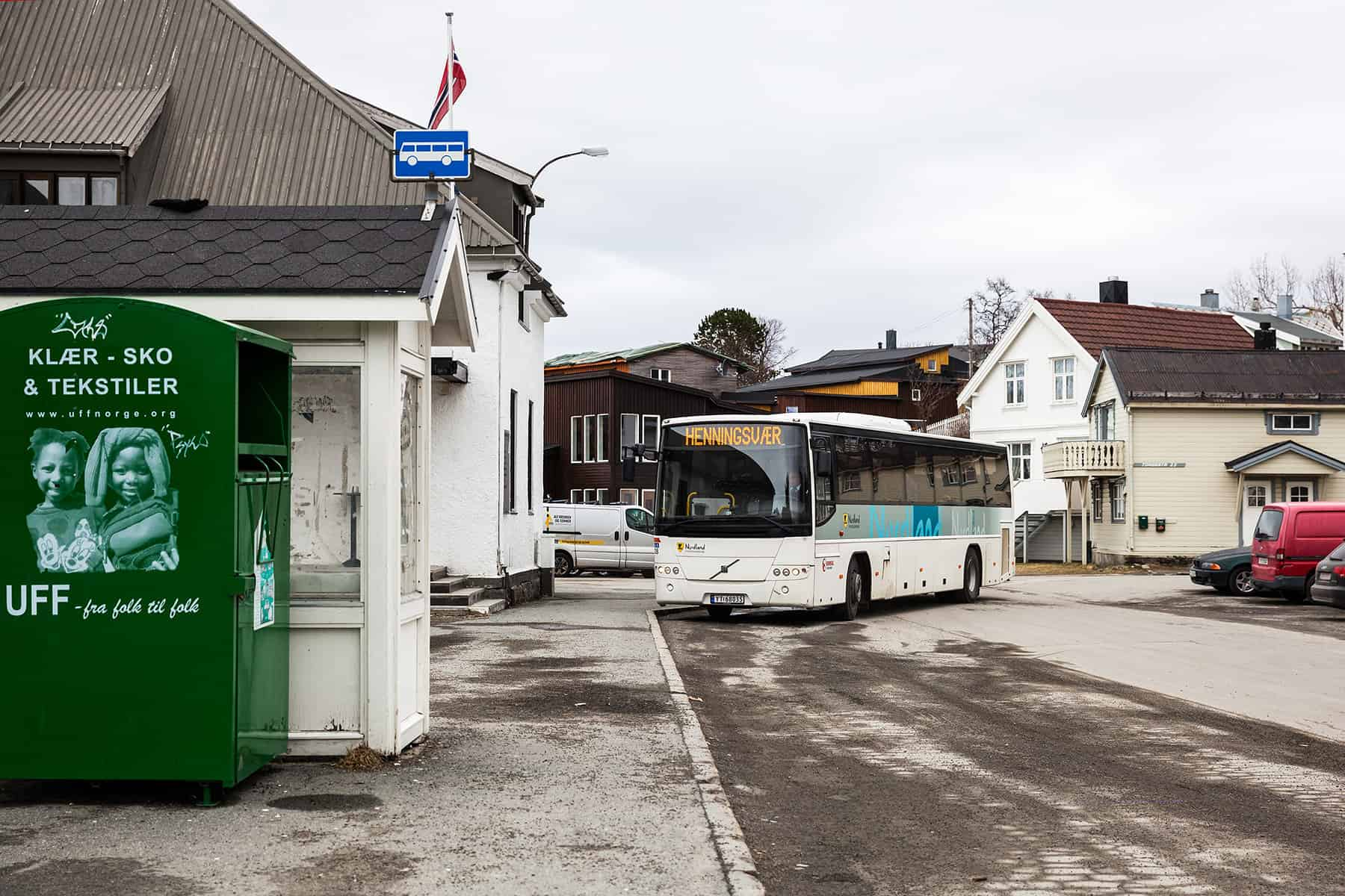 The bus stop in Kabelvåg.