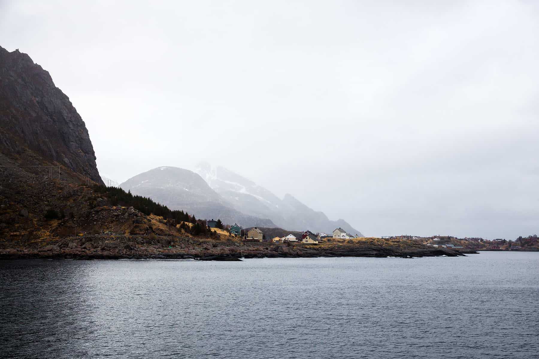 Typical for Lofoten: mountains, water and coloured houses.