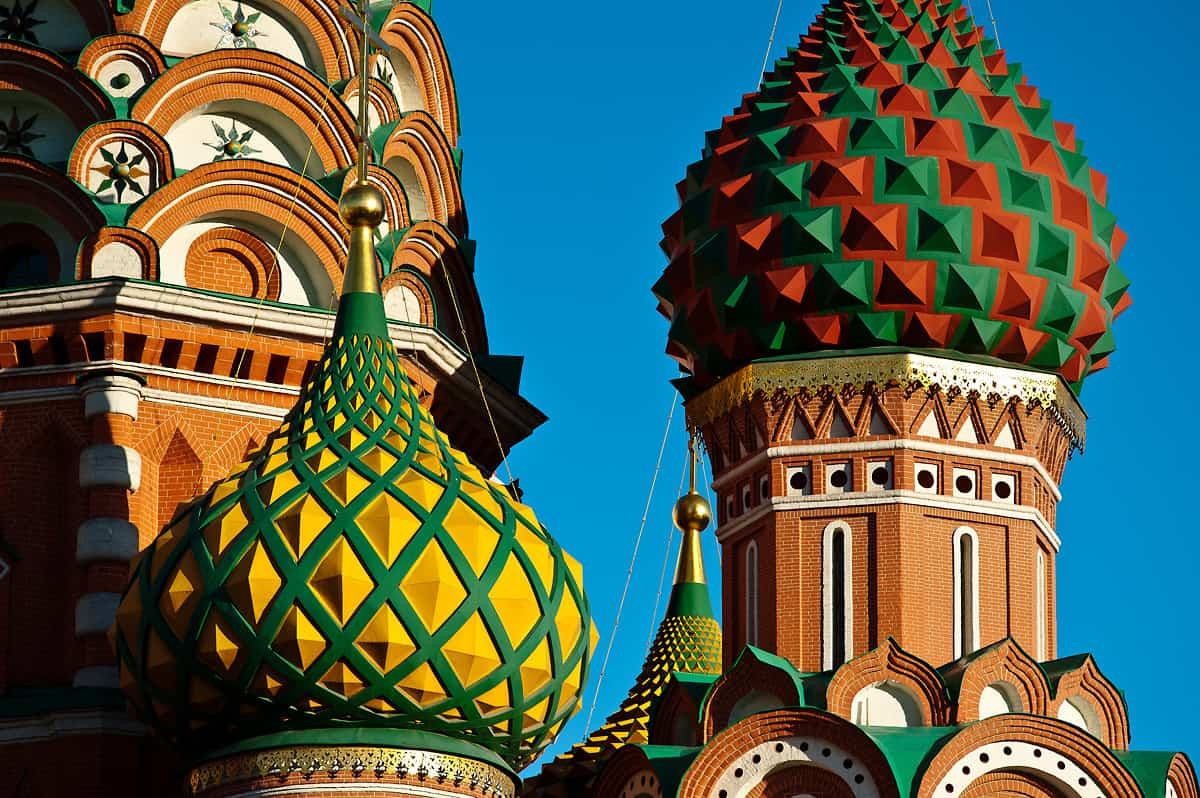 The colourful towers of St. Basil's Cathedral.