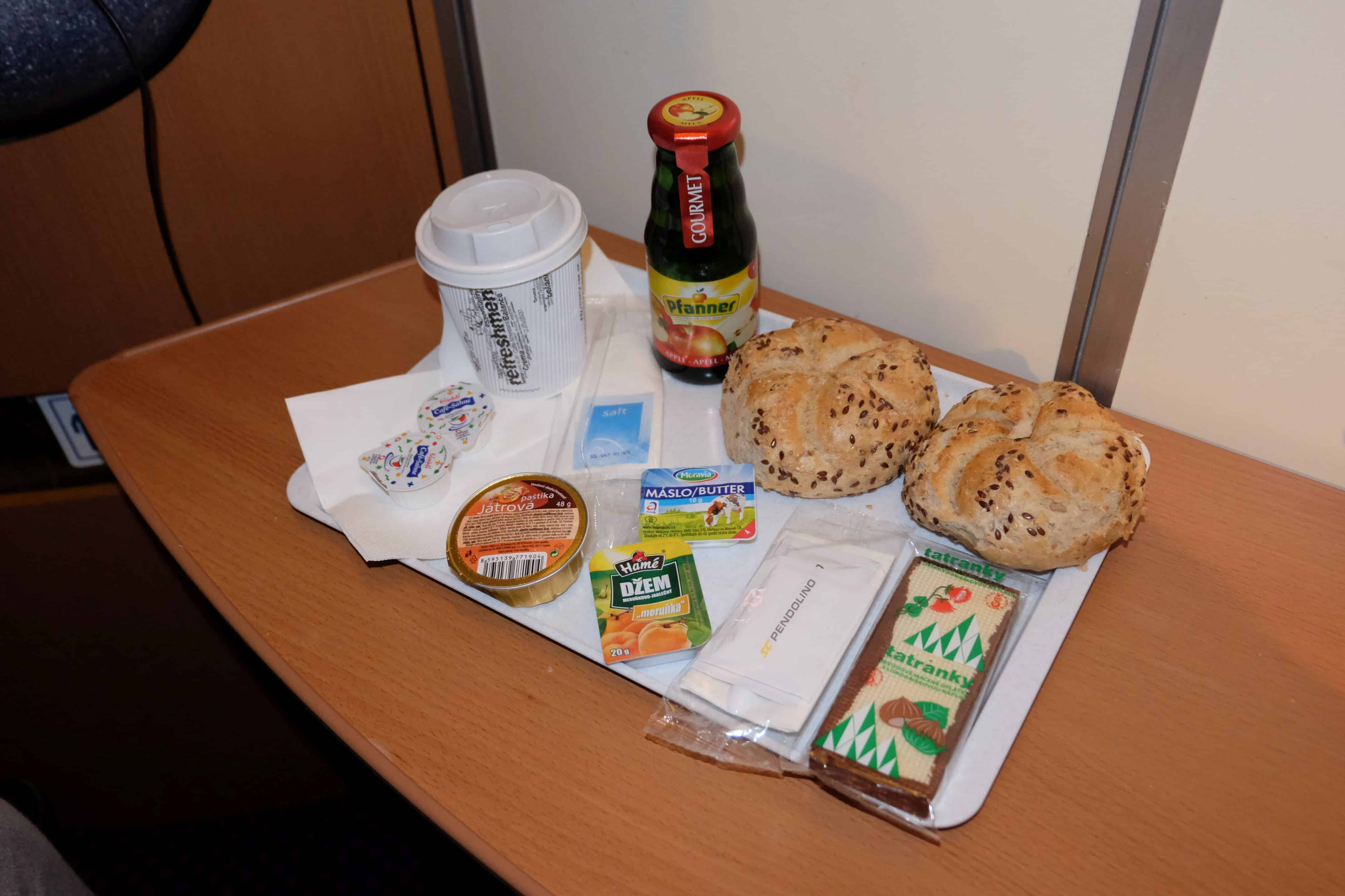 Breakfast is included for sleeping car passengers.