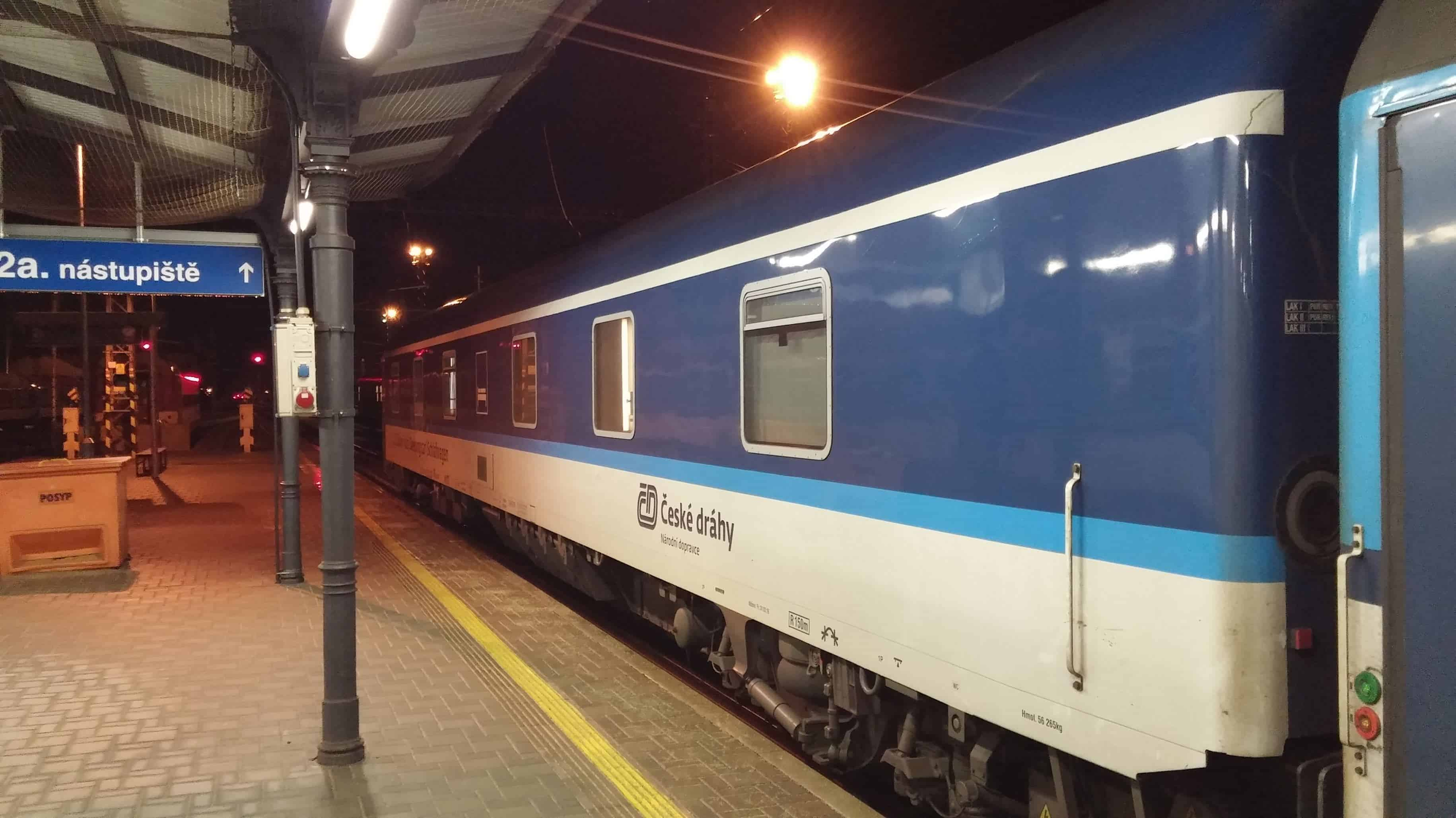 The sleeping car from Prague to Zurich at the station of Ceske Budejovice.