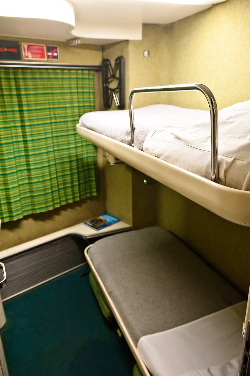 Typical of the Talgo trains: the beds are not perpendicular to the bodyshell.