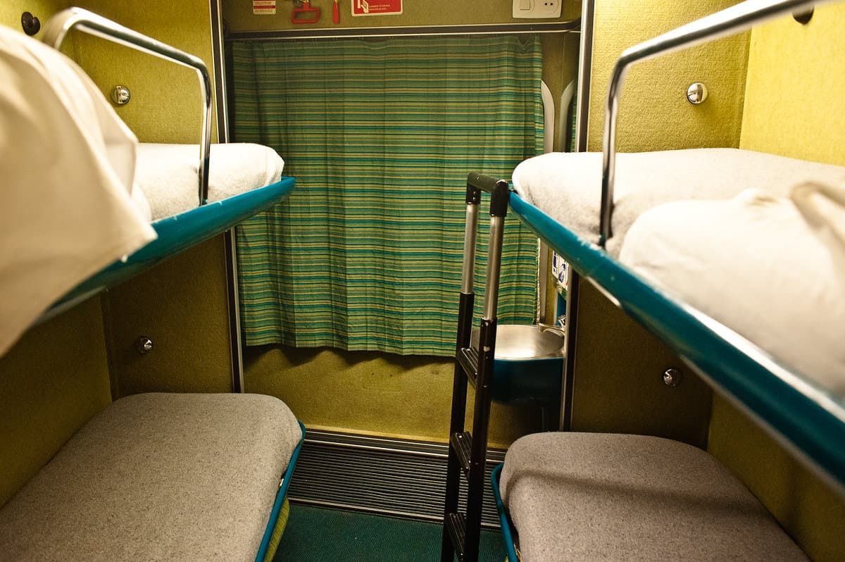 A 4-bed sleeper (Cama Turista) of the night train from Irun and Madrid to Lisbon.