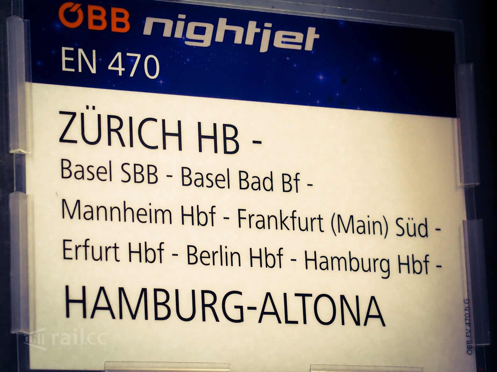 Nightjet from Zurich bia Basel, Freiburg, Karlsruhe and Mannheim to Berlin and Hamburg
