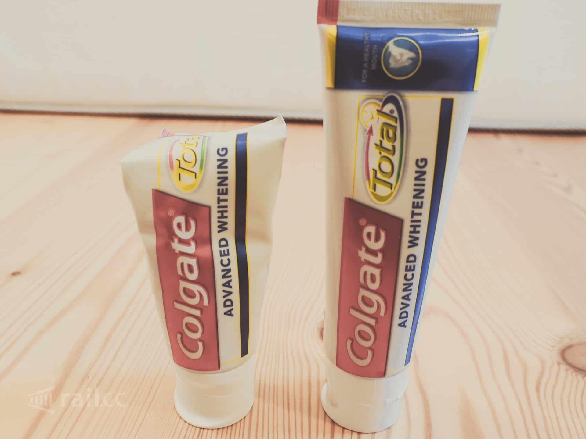 Toiletry bag toothpaste