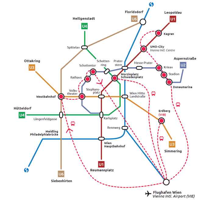 Vienna Tram Subway Map.Vienna Public Transportation System Train S Bahn Bus Metro And Tram