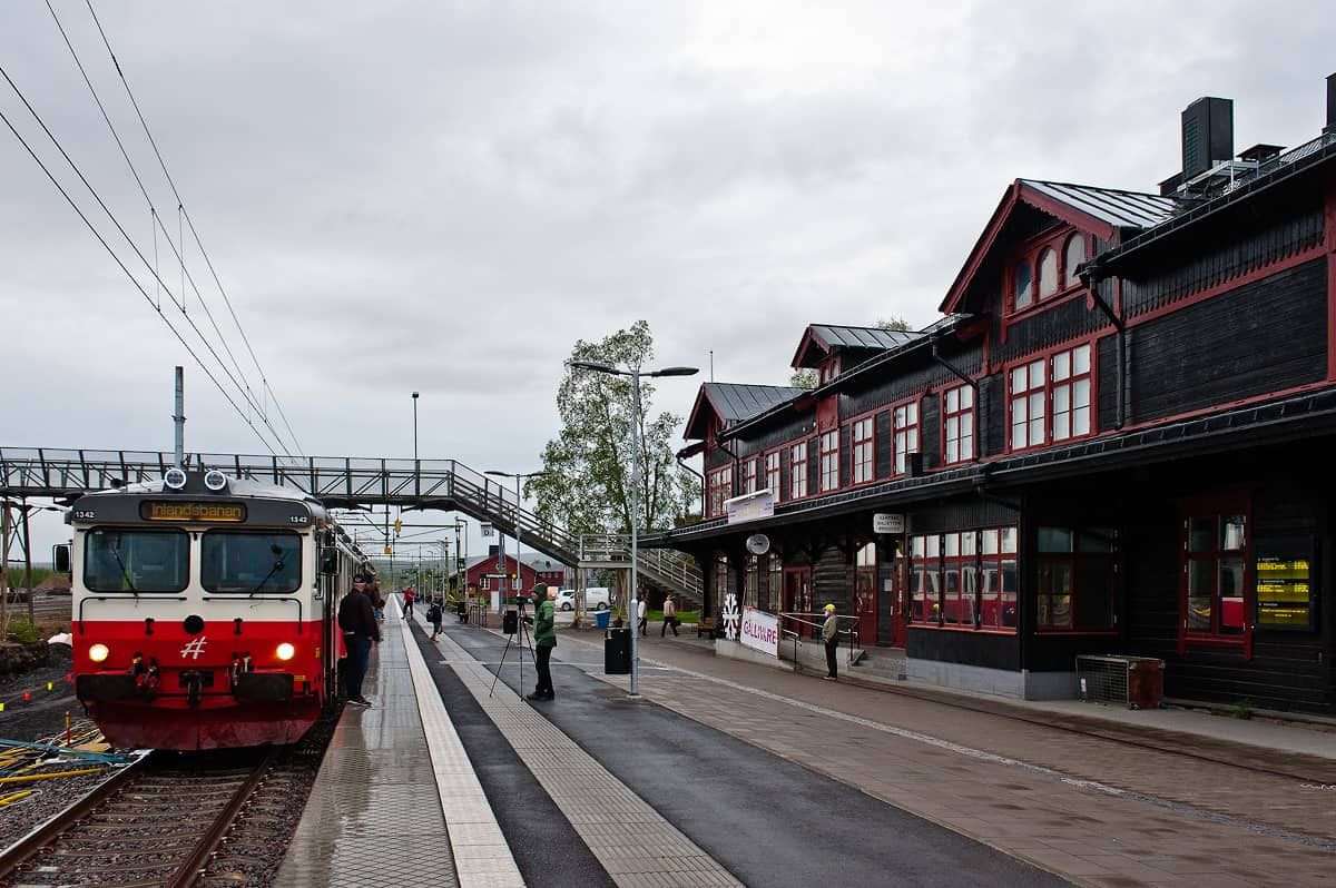 Rainy evening in Gällivare: the terminus of the line.