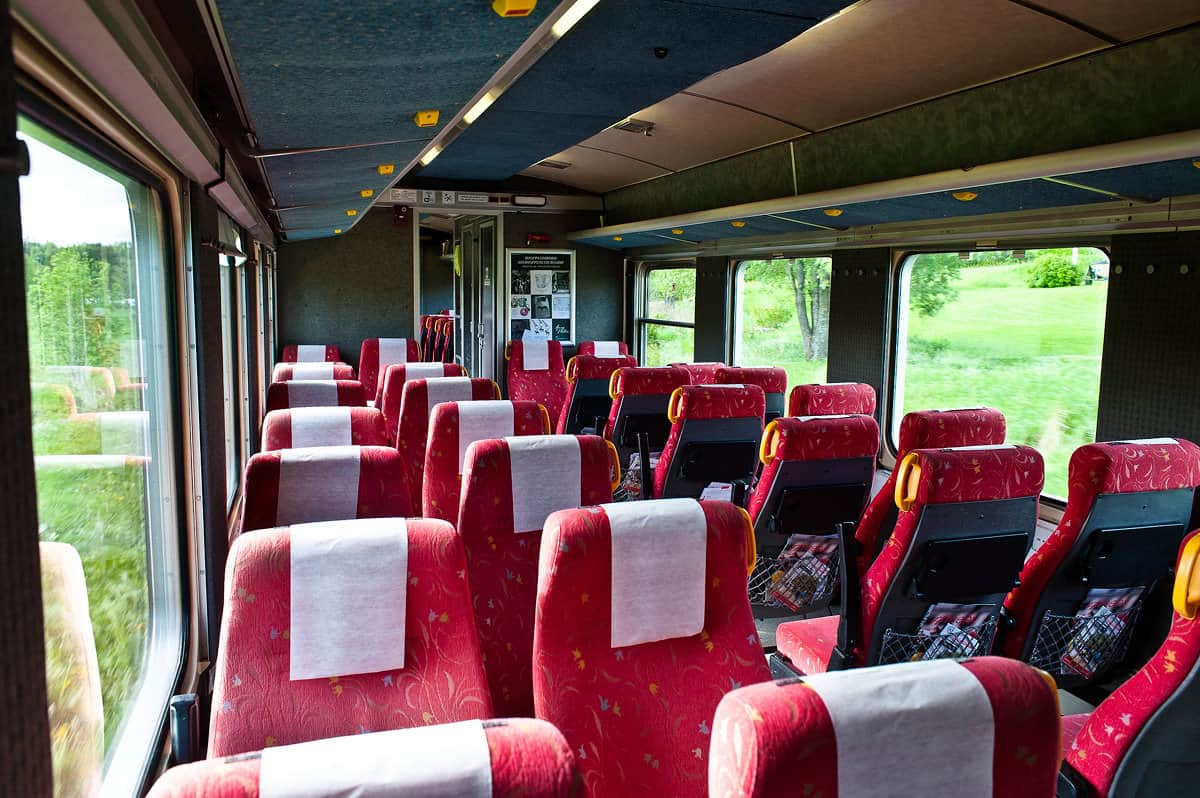The comfortable and cosy interior of one of the trains.