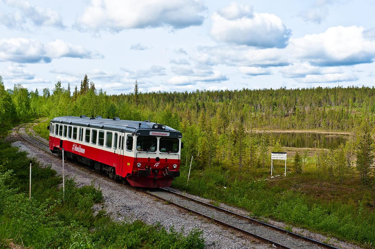 The southbound Inlandsbanan train just crosses the Polar Circle.