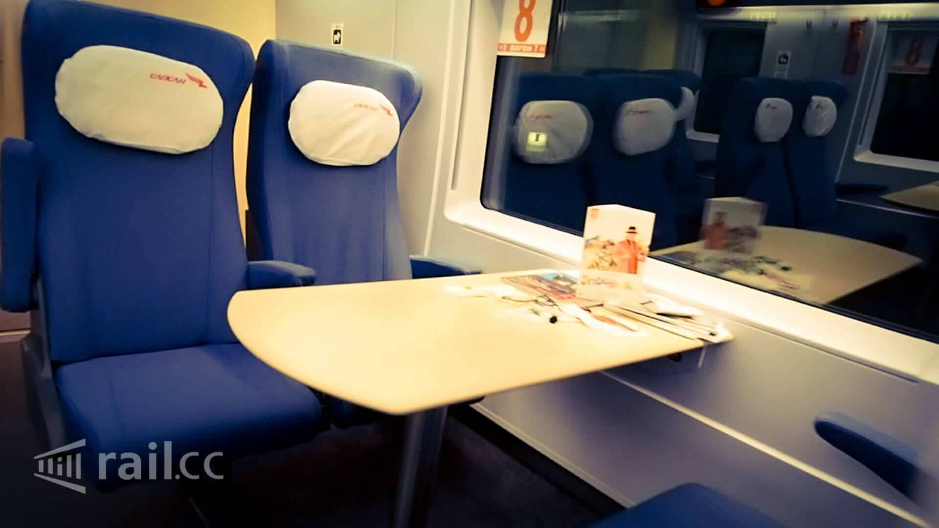 Sapsan train - seat with table in second class