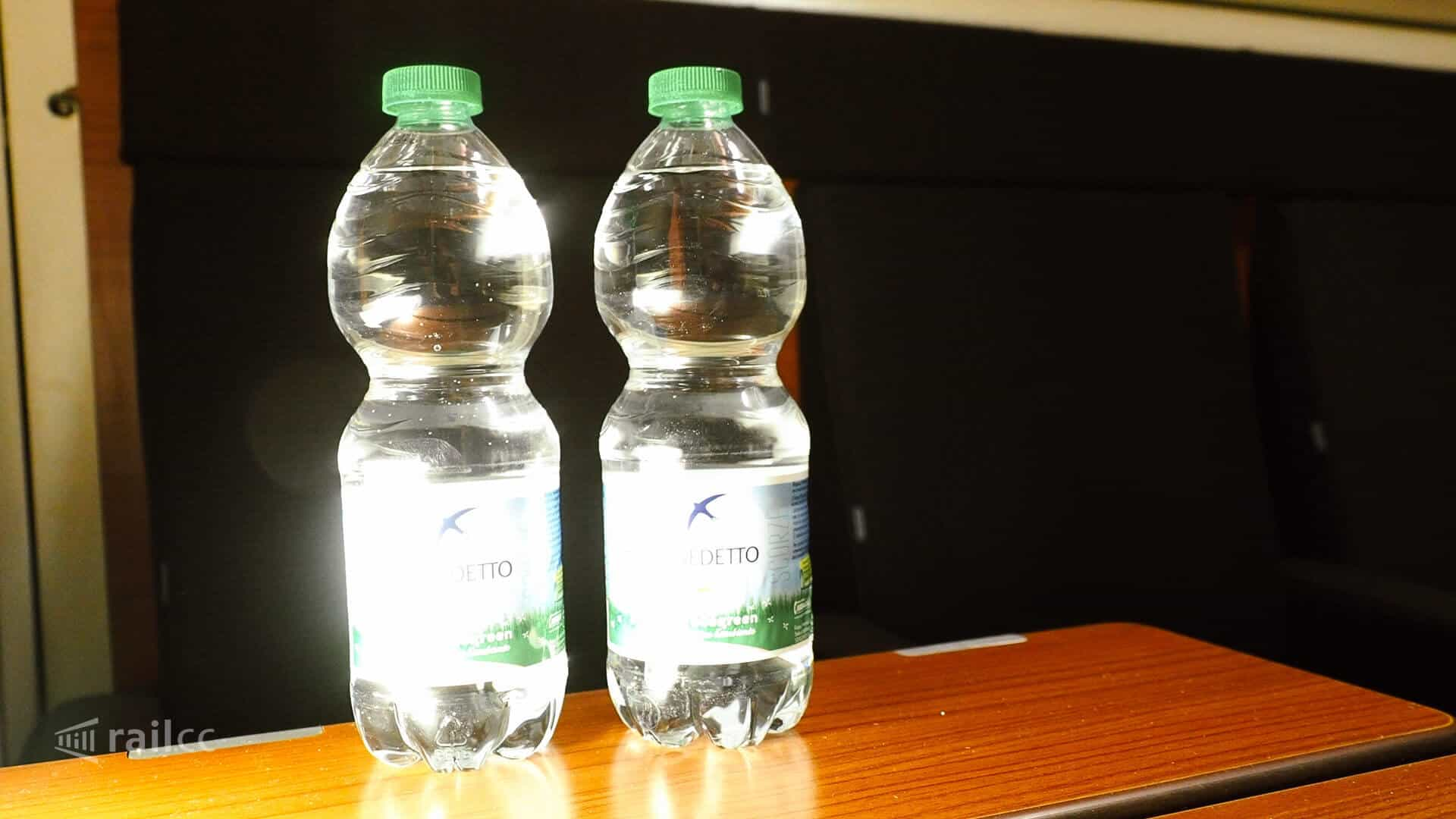 Thello: two bottles of water you get for free in a Thello sleeper compartment.